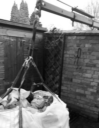 Delivery over garden wall